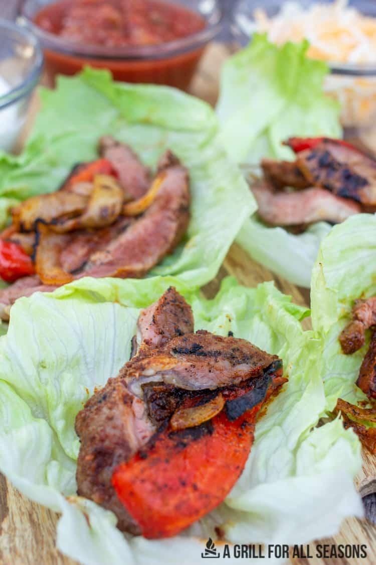 close up of steak fajita lettuce wraps