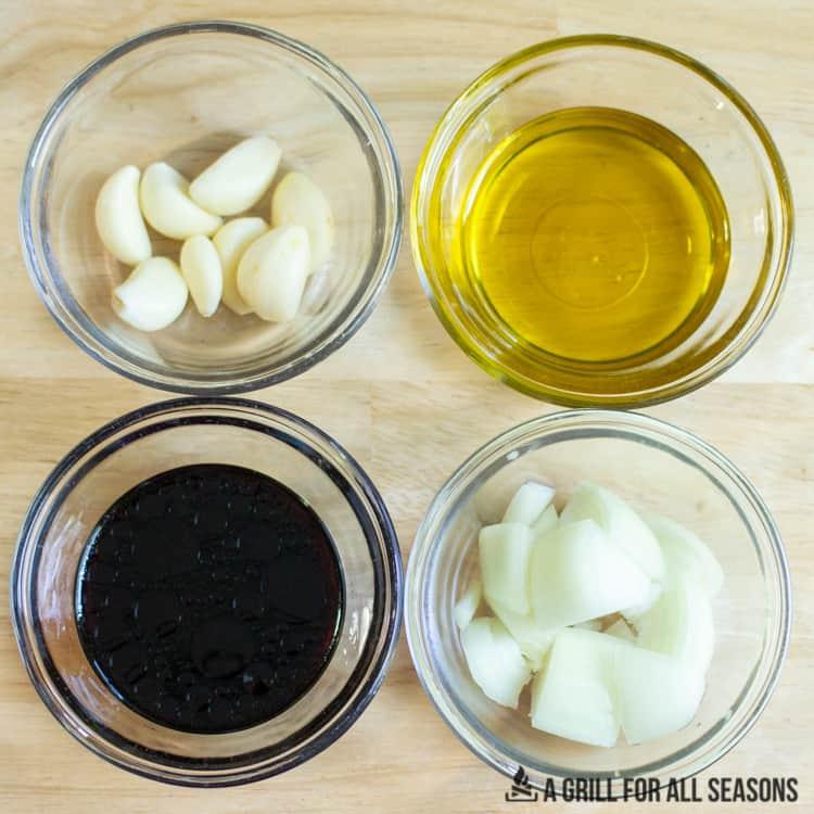four different ingredients in ramekins