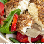 pinterest image for pecan crusted goat cheese
