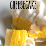 pinterest image for no bake mango cheesecake bars