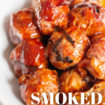 pinterest image for smoked meatballs
