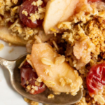 pinterest image for apple and cherry crumble