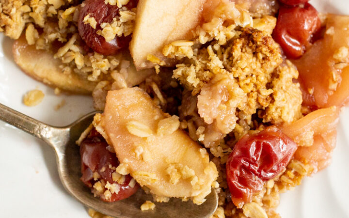 close up of the Apple and Cherry Crumble