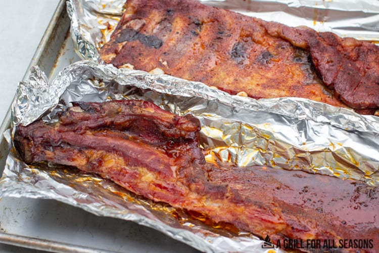 whole rack of pork ribs pellet grill smoked