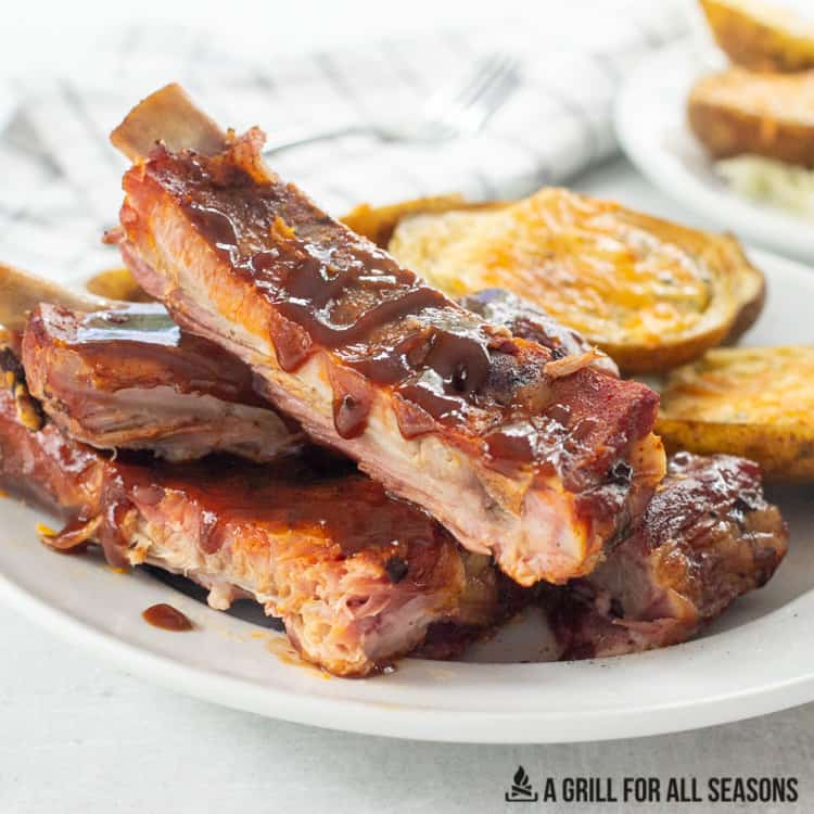 pellet grill smoked ribs on a plate