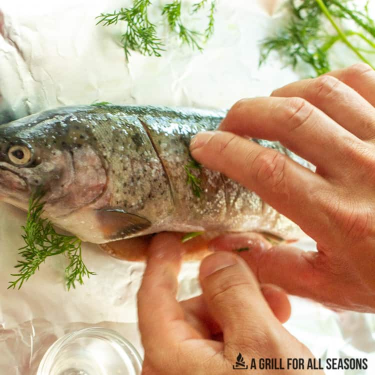 whole trout being seasoned with dill, salt and lemon juice