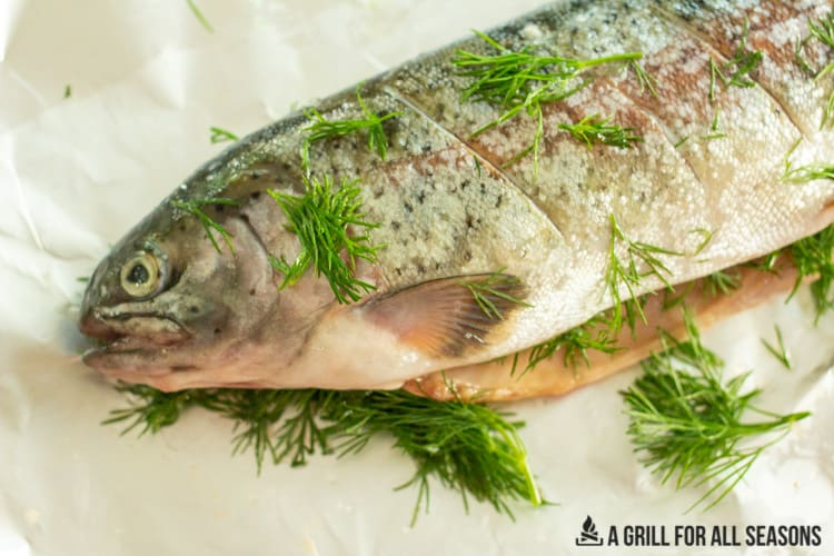 raw whole trout covered in dill, salt and lemon juice.