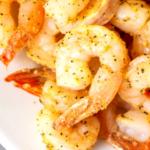 pinterest image for air fryer frozen shrimp