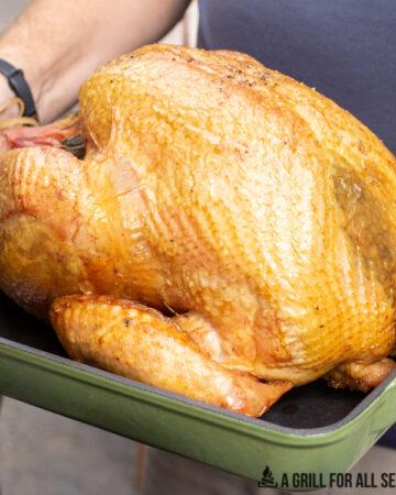 traeger turkey on roasting pan